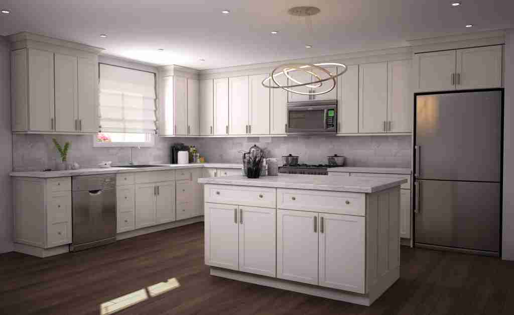 Cubitac Cabinetry Cream Cabinets in Kitchen