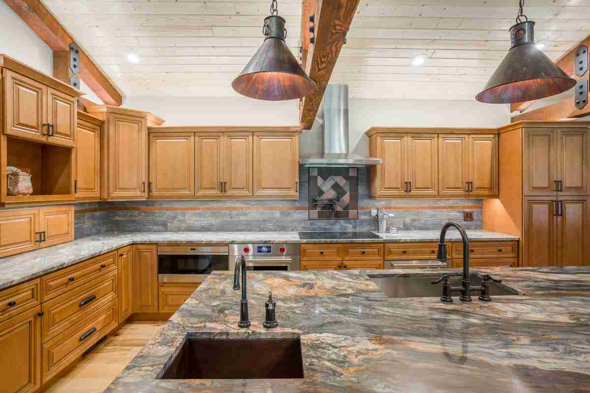 J&K Cabinetry Cinnamon Glazed Cabinet Countertops