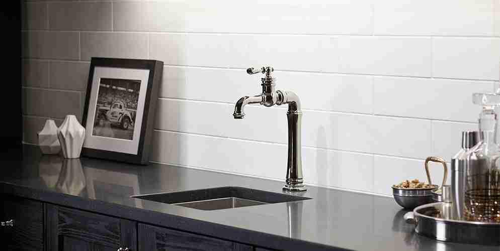 Black Quartz Countertop and Metal Sink