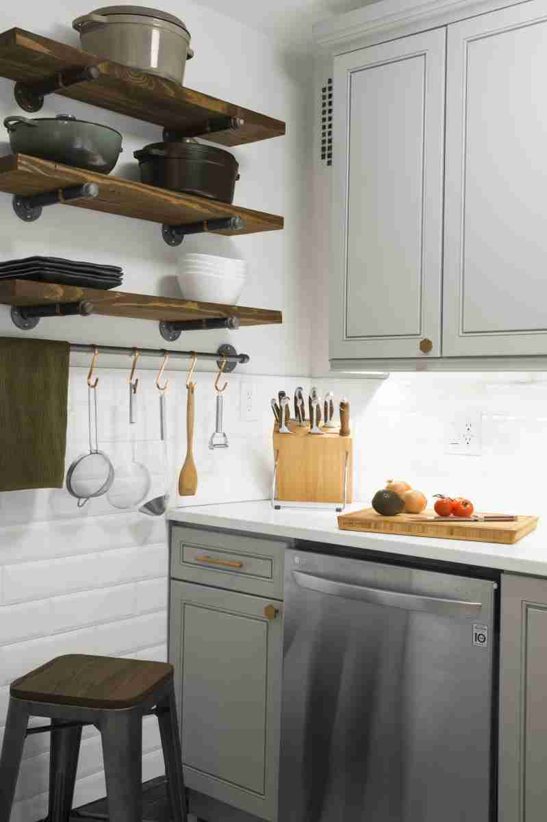 J&K Cabinetry Greige Cabinets with Countertop